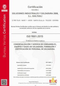 Calidad Solysol certificacion, formación, soldadura